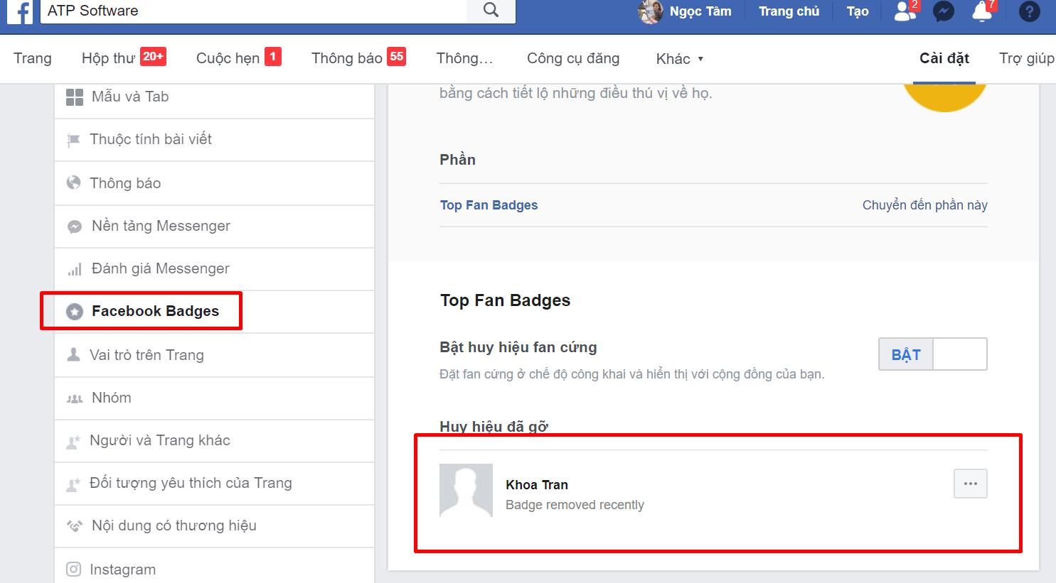 Hướng dẫn tắt hoặc bật lại HUY HIỆU FAN CỨNG trên Fanpage Facebook bị mất
